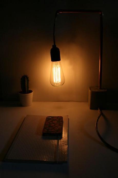 Diyourself Lampe Cuivre Beton L E4y0pb